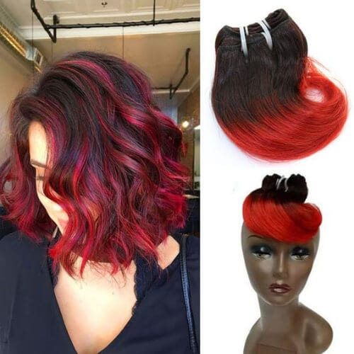 weave red ombre hair