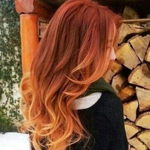 winter red ombre hair