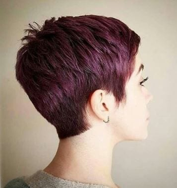 Burgundy Pixie back view