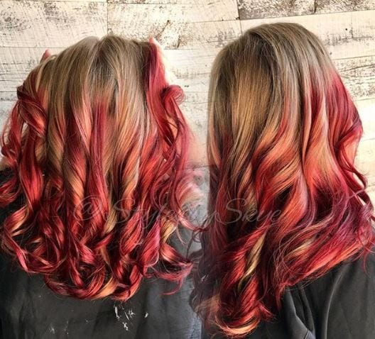 Fire engine red balayage on auburn hair