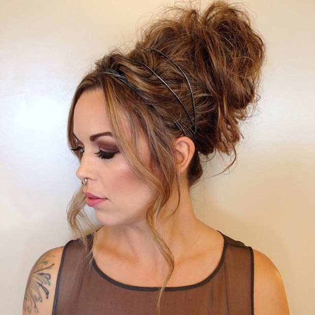 Messy Bun with a High Tight Top