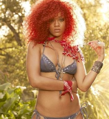 Rihanna red curly hair