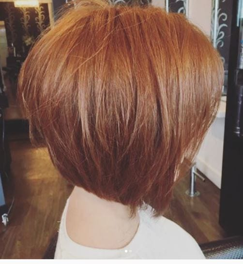 The perfect pointed bob for the perfect auburn hair