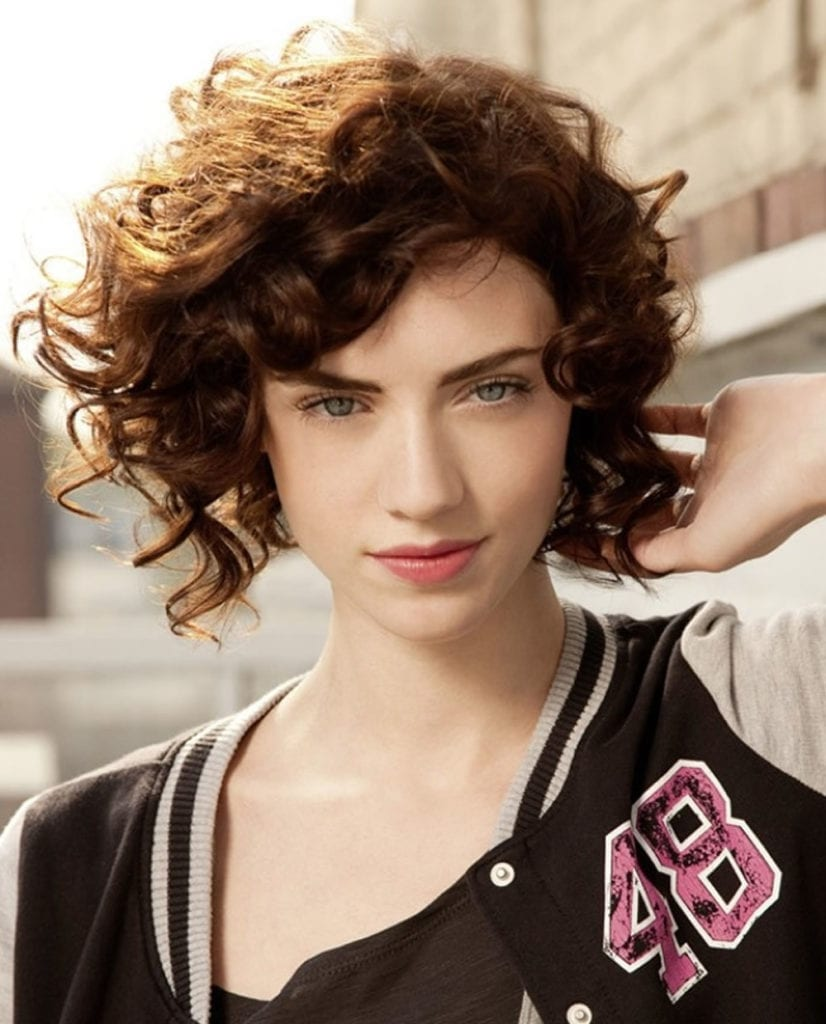 Asymmetrical Short Curly Hair Styles 2018 & Short Bob Hair Cut Ideas 2018-2019