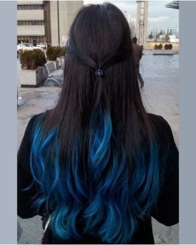 Half Black Half Blue Hair