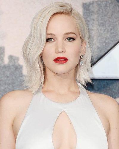 Jennifer Lawrence Side Part Platinum