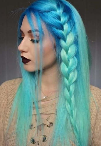 Sea Colors and Braid Hairstyle for Long Hair