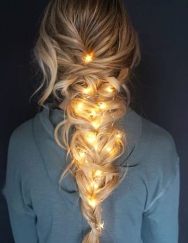 christmas lights in messy braid